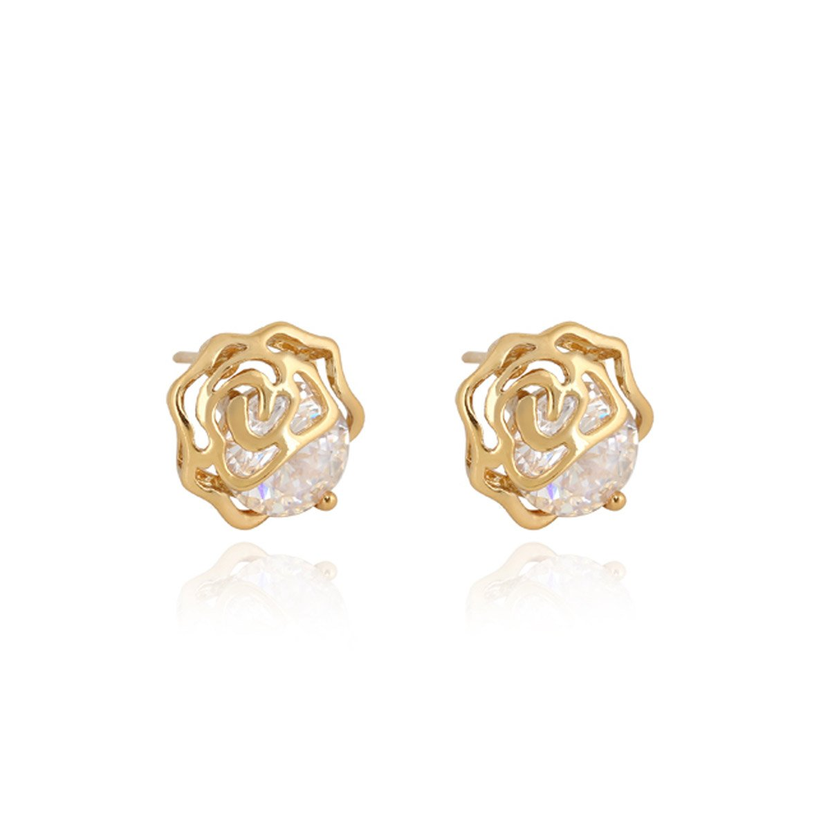 1Pair-18k-Gold-Plated-Flower-Stud-Earrings-Crystal-Zircon-10-7mmx9-9mm