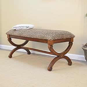 Carolina Cottage Gracie Leopard Upholstered Bench Small Bedroom Living Room Furniture Seat