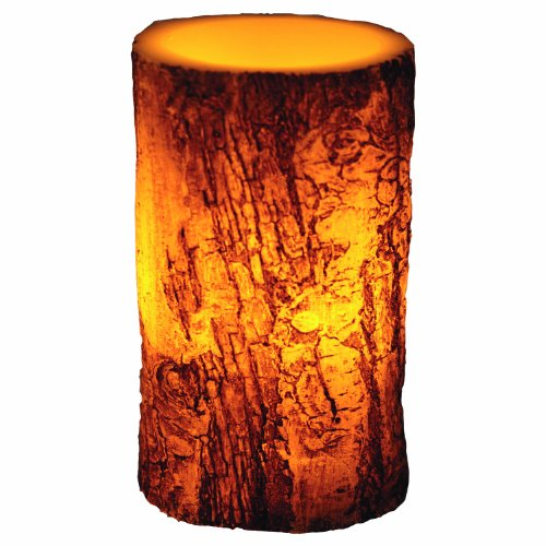 River'S Edge Led Birch Bark Candle, 4X6-Inch, Brown