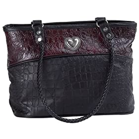 EmbassyTM Ladies's Handbag with Alligator Embossed Italian StoneTM Design Genuine Lambskin Leather