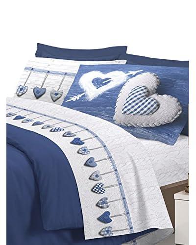 Claire Maison Betttuch und Kissenbezug blau