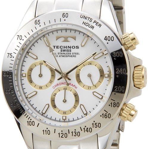 [テクノス]TECHNOS TGM615LW クロノグラフ クォーツ ホワイト×ゴールド×シルバー メンズ腕時計