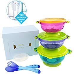 MiChef Stay Put Suction Bowl, Spill Proof, Baby Bowls with Snap Tight Lids, Baby Gift Set of 3 Count, and 2 Hot Safe Spoon and Fork, Perfect for Babies & Toddlers BPA & BPS Free FDA Approved