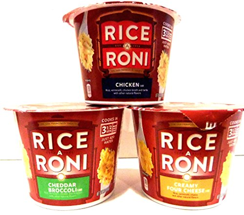 Rice A Roni Single Serve Microwaveable Cups VARIETY 6 PACK + FREE Pack of Heavy Duty Plastic Utensils. 2 Cups each of CHICKEN, CREAMY FOUR CHEESE, CHEDDAR BROCCOLI. (Single Serve Microwave Dish compare prices)