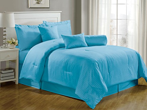 Chezmoi Collection 7-Pieces Hotel Dobby Stripe Comforter Set, California King, Light Blue