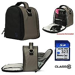 Nylon SLR Bag - Gray For Canon EOS Rebel T5i, T5, T3i, T3i, T6s Digital SLR Camera + 32GB Class 10 SD Card