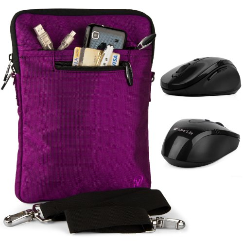 PURPLE Hydei Version High Quality Nylon Slim Shielding Interior Padded Carrying Case with hand in hand strap for all SONY VAIO T Series 13.3-Inch Touchscreen Ultrabook (SVT13136CXS, SVT13134CXS, SVT13138CXS) + Includes a Vile Wireless USB Mouse