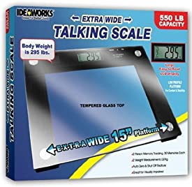 Milex International Extra Wide Talking Scale 550 Lb Weight Capacity Tempered Glass Top