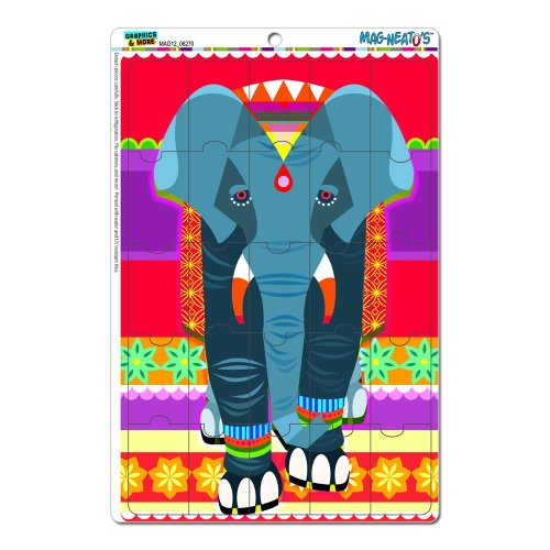 Graphics And More Geometric Indian Elephant Blue Red Mag-Neato'S Novelty Gift Locker Refrigerator Vinyl Puzzle Magnet Set front-630122