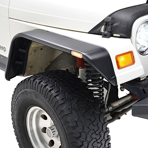 E-Autogrilles 97-06 Jeep Wrangler TJ Flat Style Front + Rear Fender Flares with Side LED lights(17192) (Jeep Tj Fenders compare prices)