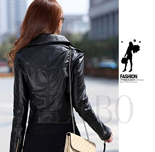 Gaorui Women's Vintage Slim Biker Motorcycle PU Soft Leather Zipper Jacket Coat 2