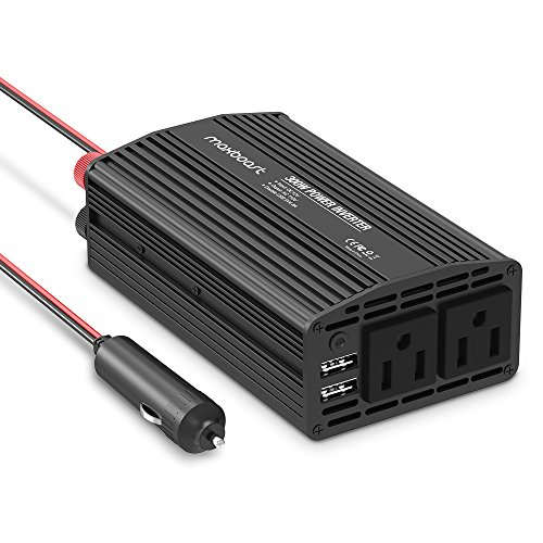 Maxboost 300W Power Inverter Dual 110V AC Outlet + Two 2.4A/24W USB Smart Ports Car Charger [Aluminum Body] DC 12V to 110V AC + DC 5V USB Battery Charger for laptop,iPad,iPhone,Tablet,phone (Multi Purpose Car Battery Charger compare prices)