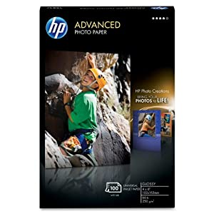 HP Advanced Photo Paper, Glossy (100 Sheets, 4 x 6 Inches, borderless)