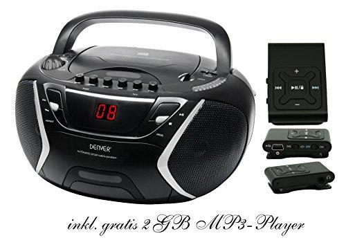 Kinder Mädchen Stereoanlage CD-Player Radio Kassettendeck Boombox DENVER TCP-38 Schwarz inkl. 2GB MP3-Player Schwarz