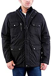 Time Option Men's Cotton Jacket (5001-Black_38)