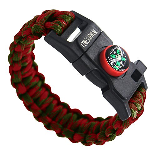 Paracord Bracelet Paracord Survival Bracelet - Hiking Multi Tool, Emergency Whistle, Compass for Hiking, Camp Fire Starter (Red/olive Camo)