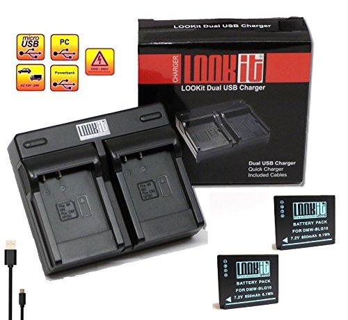 """2x LOOKit Premiumakku BLG10 + Dual Ladegerät für Panasonic Lumix DMC TZ101 TZ81 GF6 GX7 GX80 LX100 100% dekodiert - mit Infochip - mit Restlaufzeitanzeige - """"neueste Generation"""" (Dualladegerät + 2x Akku)"""