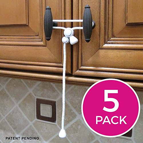Kiscords Baby Safety Cabinet Locks For Knobs Child Safety Cabinet Latches For Home Safety Strap For Baby Proofing Cabinets Kitchen Door RV No Drill No Screw No Adhesive / Color White/ 5 Pack (Latch For Kitchen Cabinets compare prices)
