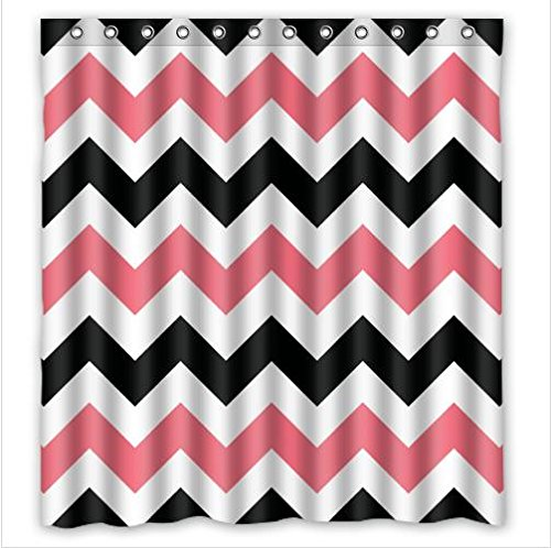 Black Pink Chevron Waterproof Bathroom Fabric Shower Curtain