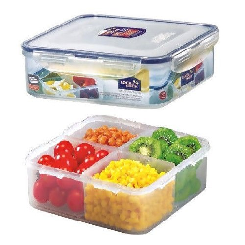 Lock & Lock Square Food Container With Divider, Short, 6.6-Cup, 54-Fluid Ounces