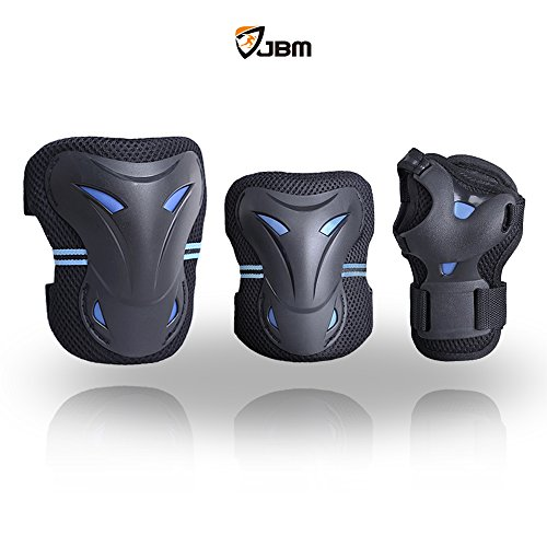 JBM Multi Sport Protective Gear Knee Pads and Elbow Pads with Wrist Guards for Cycling, Skateboard, Scooter, Bmx, Bike and Other Extreme Sports Activities (Blue and Dark, Adult)