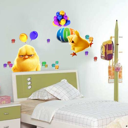 Haiqingor Super Adorable Chick Nursery Stickers Removable Pvc Wall 3d Home Decor