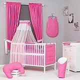 Juego de 18 piezas de ropa de cama de beb�: cortinas, dosel para cuna y coj�n protector para barrotes de cuna, colch�n cambiador-Coj�n de maternidad, draps., dise�o de lunares, color rosa rosa Talla:lit b�b� de 120 x 60