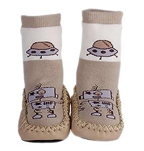 La vogue Zapatillas Calcetines Para Bebé Niños Primeros Pasos Patrón Robot Color Café - Bebe Hogar