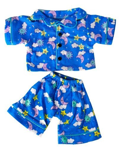 "Sunny Days Blue Pj's Teddy Bear Clothes Outfit Fits Most 14"" - 18"" Build-A-Bear, Vermont Teddy Bears, and Make Your Own Stuffed Animals - 1"
