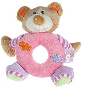 14*13cm Baby Girls Boy Infant Mini Hand Rattle Animal Soft Plush Doll Educational Toys Stuffed & Plush Animals (Bear Pink)
