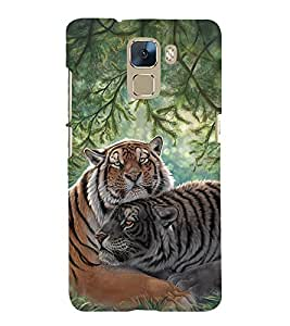 Fuson Premium Back Case Cover Cute tiger With Multi Background Degined For Huawei Honor 7