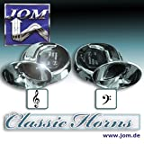 JOM 127027 Air horn / fanfare, 12V 110 dB, 8,4 cm, 2-tone high and low sound, chrome and certified!