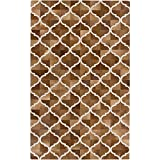 5' x 8' Eclectic Stepping Stone Coffee Brown and Snow White Hand Crafted Leather Area Throw Rug