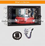 Ouku 2014 Newest Hot Sale Model 6.2-Inch Double-2 DIN In Dash Touch screen LCD Monitor with DVD/CD/MP3/MP4/USB/SD/AMFM/RDS/Bluetooth and GPS Navigation SAT NAV Head Deck Tape Recorder Subwoofer HD:800*480 LCD New Panel Design! Free GPS Antenna+Free Official Kudo GPS Map