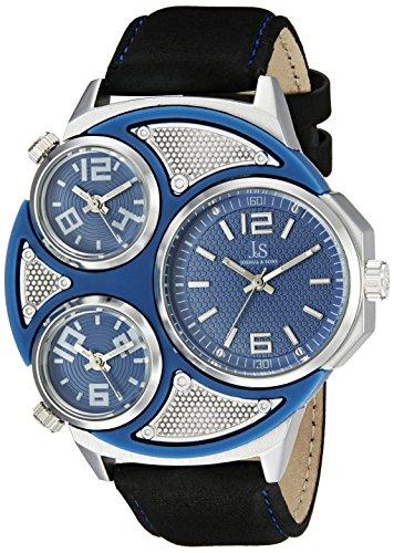 Joshua & Sons Reloj de hombre de cuarzo con Esfera Analógica Azul Pantalla y negro correa de piel jx105ssbu