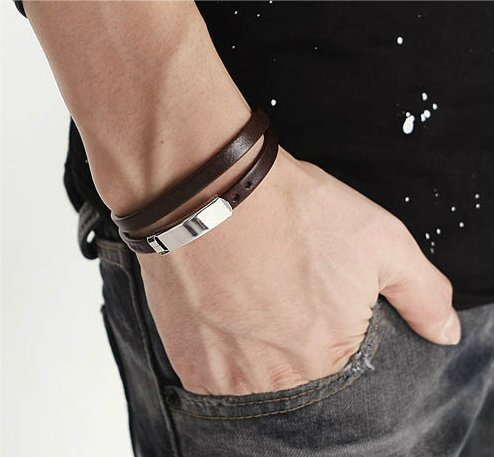 Mens Dark Brown Leather Bracelet With Stainless Steel Clasp 40cm