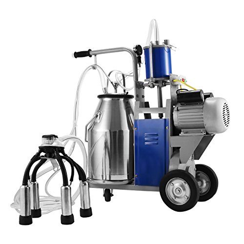 Happybuy Electric Milking Machine 25L Single Bucket Milking Machine 1440 RMP Piston Milking Machine for Cows or Sheep 304 Stainless Steel Bucket (Milking Machine compare prices)