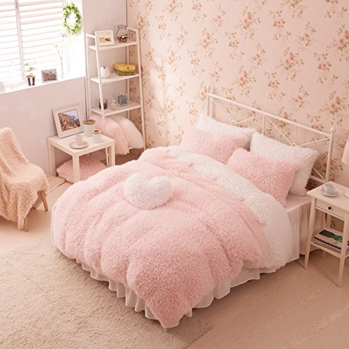 Pink And White Duvet Cover Set Princess Bedding Girls Bedding Women Bedding Gift Idea, Twin Size