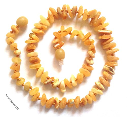 Safety Knotted!! Natural Baltic Amber Baby Teething Necklace 33Cm 13 Inches - Honey Creamy Raw Beads Color Unpolished Pure Amber / Free Jewelry Pouch Bag !! front-6812