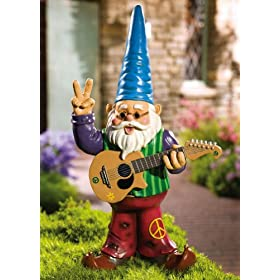 Peaceful Hippy Garden Gnome W/ Guitar & Bellbottom by Collections Etc