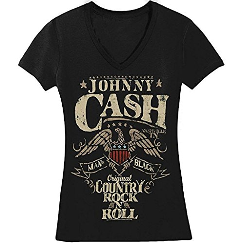 Johnny Cash Country Rock N Roll Junior Donna V-Neck Maglietta