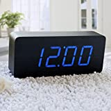 EiioX Wooden Desk Alarm Clock Fashion Blue Digital LED Wood ClockNumber Shows Temperature and Date USB POWERED