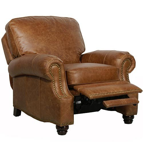 Barcalounger Longhorn II Leather Recliner Saddle Leather/Espresso Wood Legs (Espresso Leather Recliner compare prices)