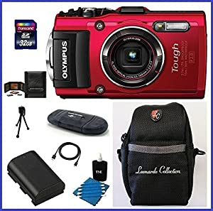 Olympus Stylus TOUGH TG-4 Digital Camera (Red) Bundle includes; 32GB SDHC Class 10 Memory Card, SD Card Reader, Spare Battery, Case and more...