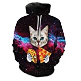 GUAngqi Men Women's Cat Print Hoodie 3D Galaxy Sweatshirts Harajuku Animal Sweatshirt Pullover Coat,black,L