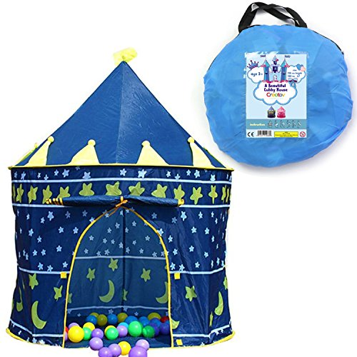 Children Play Tent Boys Girls Prince House Indoor Outdoor Blue Foldable Tent with Case by Creatov (Play Houses Indoor compare prices)