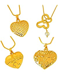 Surat Diamonds 4 Pack Of Big Heart Shaped Gold Plated Pendant With 22 IN Chain For Girls (H1482)