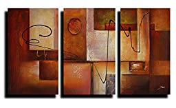 Ode-Rin Hand Painted Abstract Oil Paintings Geometric Graphes 3 Panels Wood Framed Inside For Living Room Art Work Home Decoration