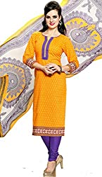 Adaa Women's Cotton Unstitched Dress Material (HS-V-504-A_Orange_Free Size)