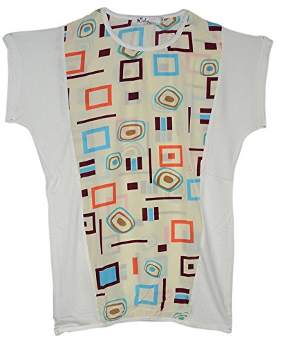 Am Clothes Womens Summer Chiffon Prints O Neck Casual Girl Top T-Shirt Small White front-589669